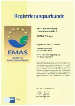 Zertifikat EMAS Urkunde