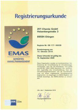 2016 - 2020 EMAS Urkunde